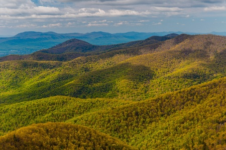 Spring colors in the Appalachian Mountains, seen from Blackrock Summit in Shenandoah National Park, Virginia. photo