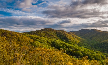 stomy: Spring evening view from an overlook on Skyline Drive in Shenandoah National Park, Virginia. Stock Photo