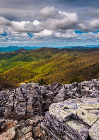 blackrock: View from the boulder-covered summit of Blackrock in Shenandoah National Park, Virginia. Stock Photo