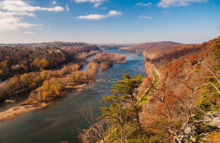 View west up the Potomac River from Maryland Heights, across the river from Harper's Ferry, West Virginia. photo