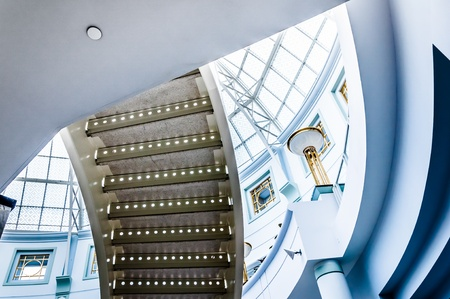 Staircase and large glass dome in Towson Town Center, Maryland.