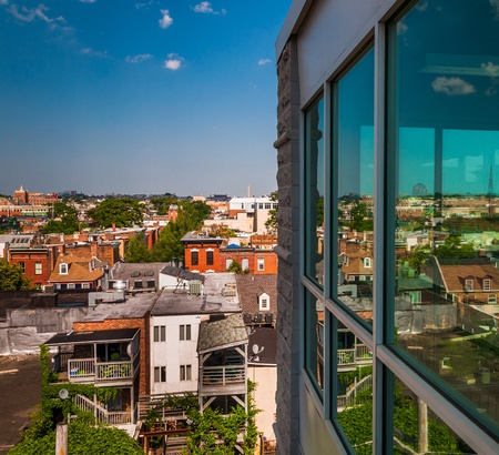 run down: View of a run-down residential area from a parking garage in Baltimore, Maryland. Stock Photo