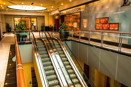 Escalators and the Louis Vuitton Store in Towson Town Center, Maryland.