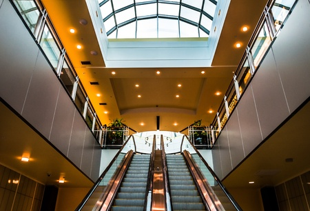 Escalators in Towson Town Center, Maryland.
