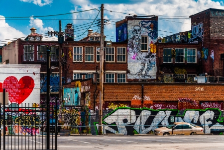 Graffiti and old buildings in Baltimore, Maryland.