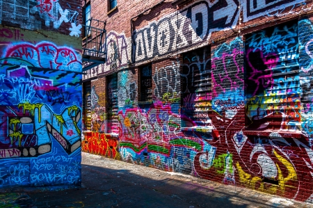 Graffiti on walls in Graffiti Alley, Baltimore, Maryland. Editorial