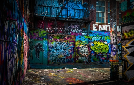 In the Graffiti Alley, Baltimore, Maryland. Editorial