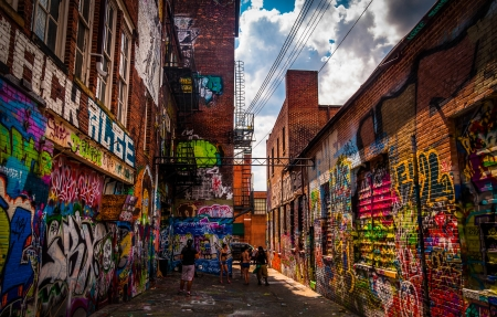 Sunny summer day in the Graffiti Alley, Baltimore, Maryland. Editorial