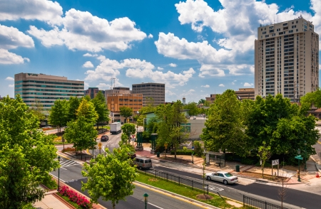 View of buildings and a divided street from the top of a parking garage in Towson, Maryland.