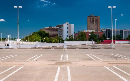View of highrises in Towson, Maryland from the top of a parking garage.