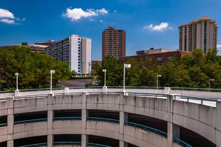 View of parking garage ramp and highrises in Towson, Maryland. photo