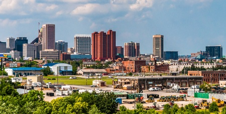 View of the skyline and industrial areas from I-95 in Baltimore, Maryland.