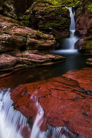 Adam's Falls and a small cascade on Kitchen Creek in Ricketts Glen State Park, Pennsylvania. Stock Photo - 20759401