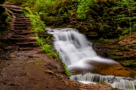 Delaware Falls and stairs along the Falls Trail in Ganoga Glen, Ricketts Glen State Park, Pennsylvania. photo