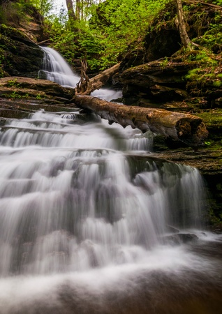 Looking up Huron Falls, in Glen Leigh, Ricketts Glen State Park, Pennsylvania. Stock Photo - 20759425