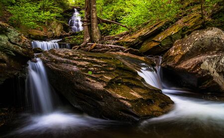 Ozone Falls and cascades on Kitchen Creek, in Glen Leigh, Ricketts Glen State Park, Pennsylvania. Stock Photo - 20759428