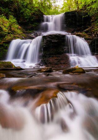 Tuscarora Falls and small cascades on Kitchen Creek in Ganoga Glen, Ricketts Glen State Park, Pennsylvania. photo