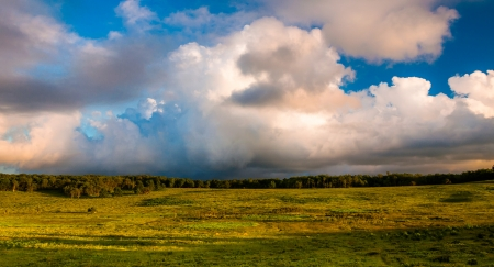 Beautiful evening clouds over Big Meadows in Shenandoah National Park, VA. photo