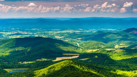 Clouds cast shadows over the Appalachian Mountains and Shenandoah Valley, seen from Shenandoah National Park, Virginia