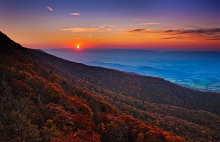 Autumn sunset over the Shenandoah Valley and Appalachian Mountains from Little Stony Man, in Shenandoah National Park, Virginia. photo