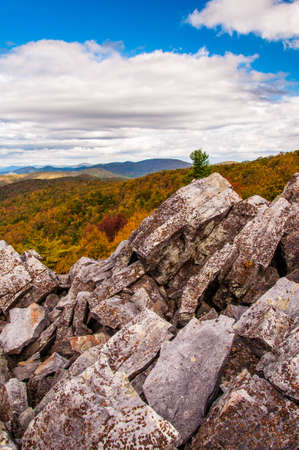 Autumn view of the Blue Ridge Mountains from the boulder-covered summit of Blackrock, in Shenandoah National Park, VA. photo