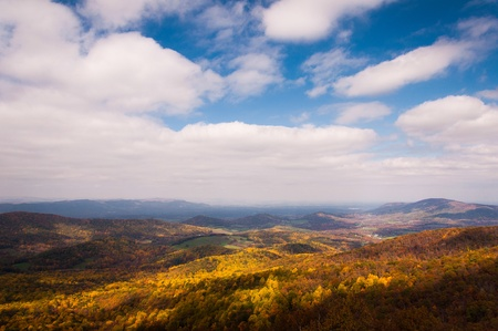 Autumn view of the Shenandoah Valley from Skyline Drive in Shenandoah National Park, Virginia. photo