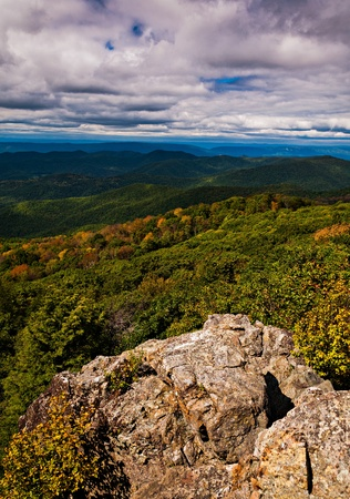 Early autumn view of the Blue Ridge Mountains from Bearfence Mountain, Shenandoah National Park, Virginia. photo