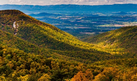 Early autumn view of the Shenandoah Valley, seen from Skyline Drive in Shenandoah National Park, Virginia. photo