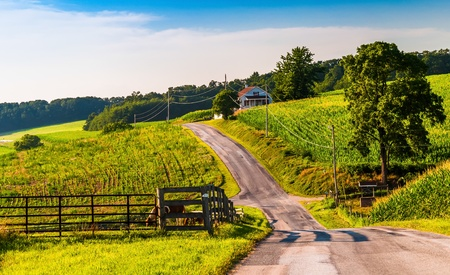 backroad: fields along a country road in rural York County, Pennsylvania.