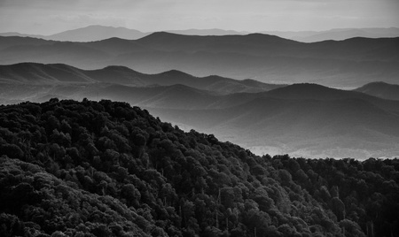 Layers of ridges of the Blue Ridge Mountains, seen from Stony Man Mountain, Shenandoah National Park, Virginia. 版權商用圖片