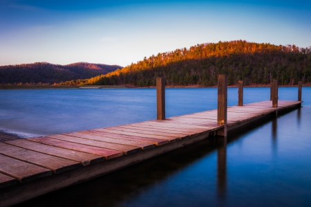 Long exposure of a small dock on Lake Arrowhead, near Shenandoah National Park in Luray, Virginia photo
