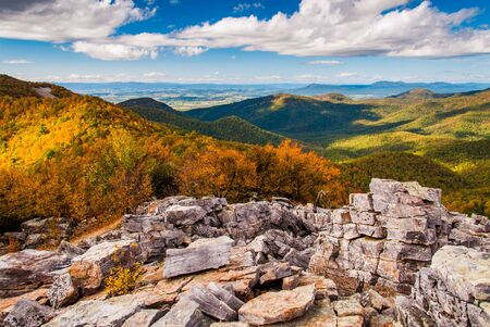 Autumn view of the Shenandoah Valley and Blue Ridge Mountains from the boulder-covered summit of Blackrock, in Shenandoah National Park, VA. photo