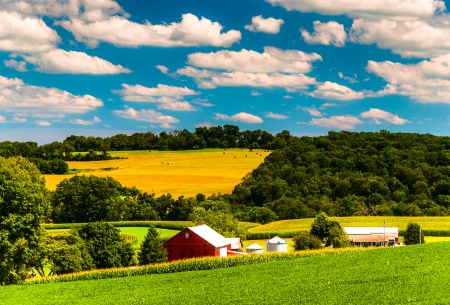 Farm fields and rolling hills in rural York County, Pennsylvania. Stock Photo