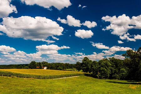 Summer clouds over fields in rural York County, Pennsylvania. photo