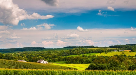 View of rolling hills and farm fields in rural York County, Pennsylvania.