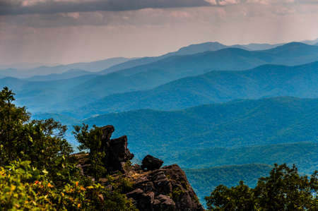 ridge: Rock outcrop on North Marshall and view of the Blue Ridge in Shenandoah National Park, Virginia.