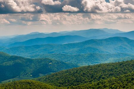 ridge: View of the Blue Ridge Mountains from North Marshall in Shenandoah National Park, Virginia.