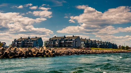 Waterfront condos and a jetty in Point Pleasant Beach, New Jersey.