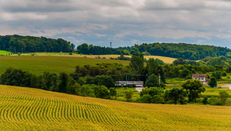 View of farm fields and rolling hills in rural York County, Pennsylvania. photo