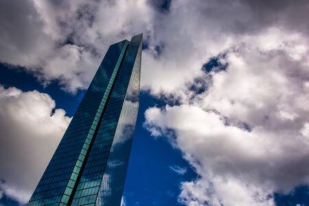 john hancock: Clouds over the modern John Hancock Building in Boston, Massachusetts. Stock Photo