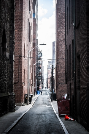 Dark alley in Boston, Massachusetts.
