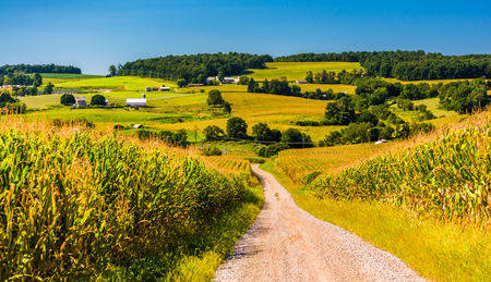 countryside landscape: Dirt road and view of farms in rural York County, Pennsylvania.