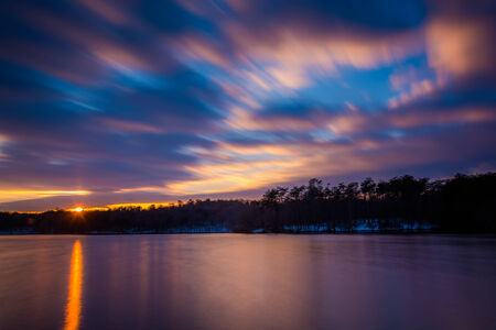 Long exposure of Prettyboy Reservoir at sunset, in Baltimore County, Maryland.