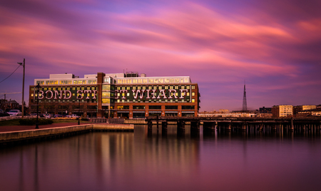fells: Long exposure at sunset of Bond Street Wharf in Fells Point, Baltimore, Maryland.