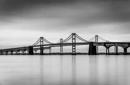 bays: Long exposure of the Chesapeake Bay Bridge, from Sandy Point State Park, Maryland.