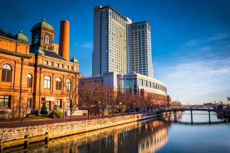 public works: Long exposure of the Marriot Waterfront Hotel and the Public Works Museum, at the Inner Harbor of Baltimore, Maryland.