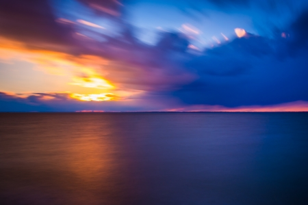 safe water: Long exposure on the Chesapeake Bay at sunset, from Tilghman Island, Maryland.