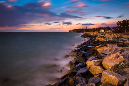 Long exposure on the Chesapeake Bay at sunset, in Tilghman Island, Maryland. photo