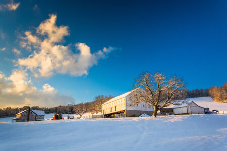 Snow on a farm in rural York County, Pennsylvania. photo