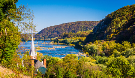 west virginia trees: St. Peters Roman Catholic Church and the Potomac River, seen from Jefferson Rock in Harpers Ferry, West Virginia.